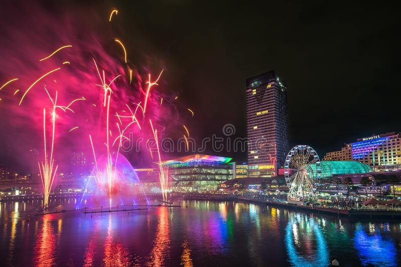 Sydney, Australia - June 2, 2017, Magicians of the Mist water light show and fireworks at Darling Harbour during Vivid Sydney royalty free stock photo