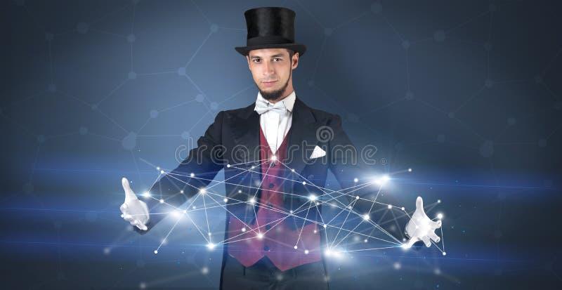 Magicien avec la connexion g?om?trique sur sa main photographie stock libre de droits