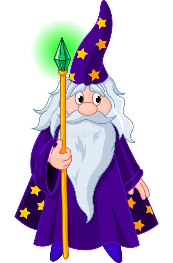 Magicien avec le personnel illustration libre de droits