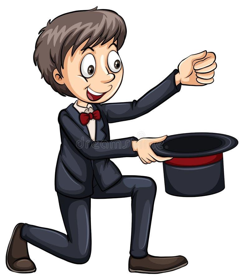 Magicien avec un chapeau illustration libre de droits