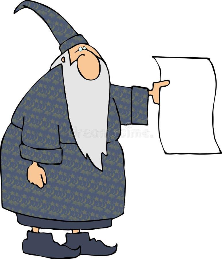 Magicien avec un signe blanc illustration de vecteur
