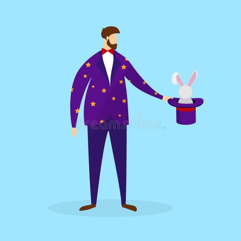 Magicien dans le costume tenant le chapeau magique avec le lapin illustration libre de droits
