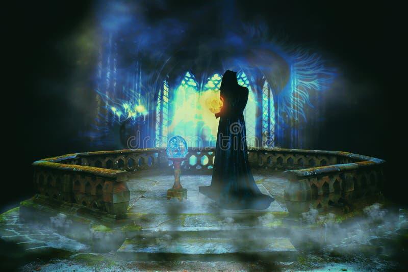 Magicien dans un royaume magique illustration de vecteur