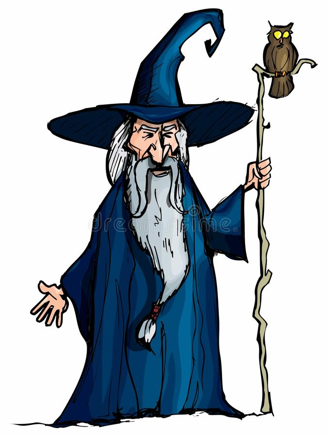 Magicien de dessin animé avec le personnel illustration stock