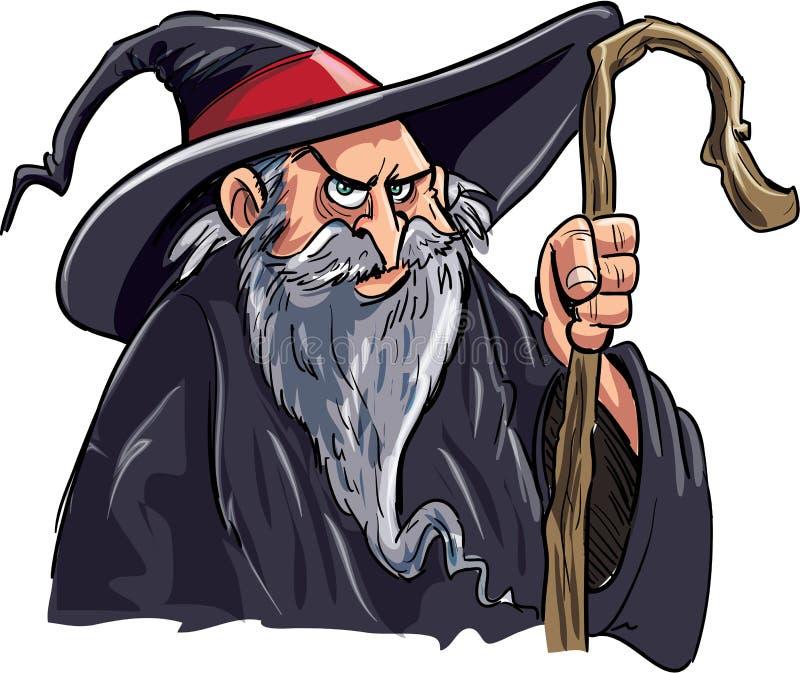 Download Magicien De Dessin Animé Avec Un Personnel Illustration Stock - Illustration du comique, magicien: 45359449