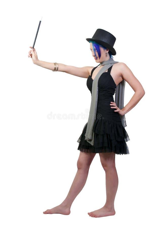 Magicien de femme utilisant un premier chapeau photos stock