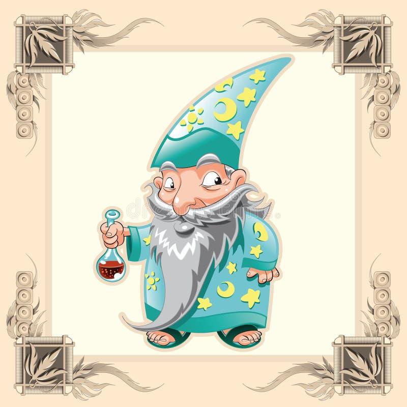 Magicien drôle illustration de vecteur