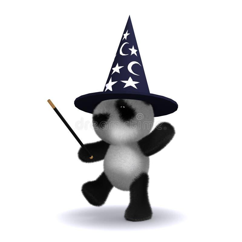 magicien du panda 3d illustration stock