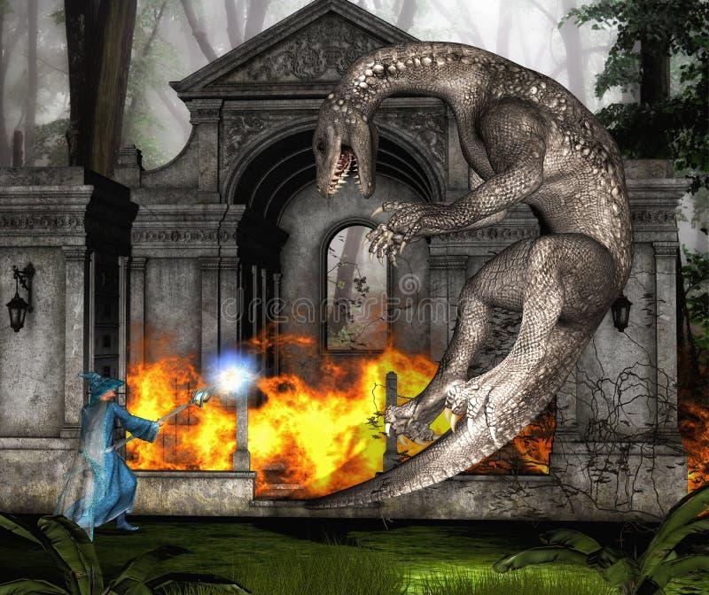 Magicien et dragon dans la bataille II illustration stock