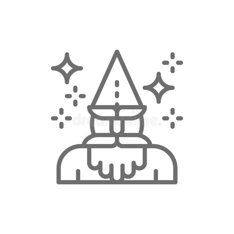 Magicien, mage, magicien, ligne icône de thaumaturge illustration libre de droits