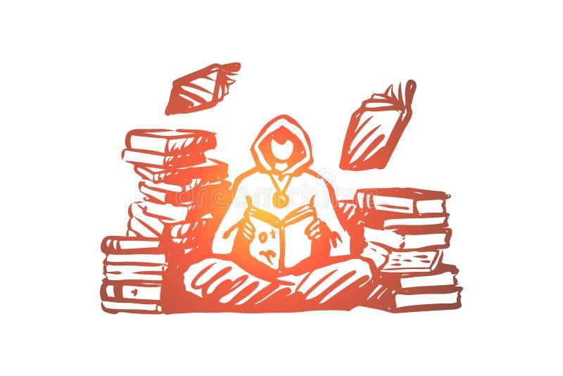 Magicien, magie, bibliothèque, charme, concept de livre Vecteur d'isolement tiré par la main illustration libre de droits