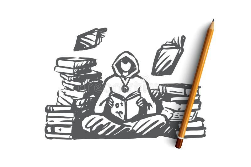 Magicien, magie, bibliothèque, charme, concept de livre Vecteur d'isolement tiré par la main illustration de vecteur