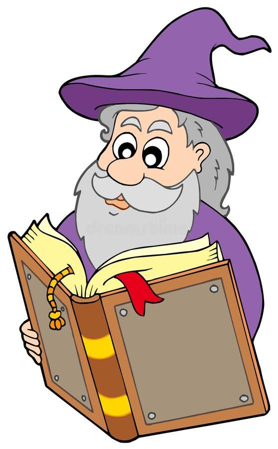 magicien magique du relevé de livre illustration de vecteur