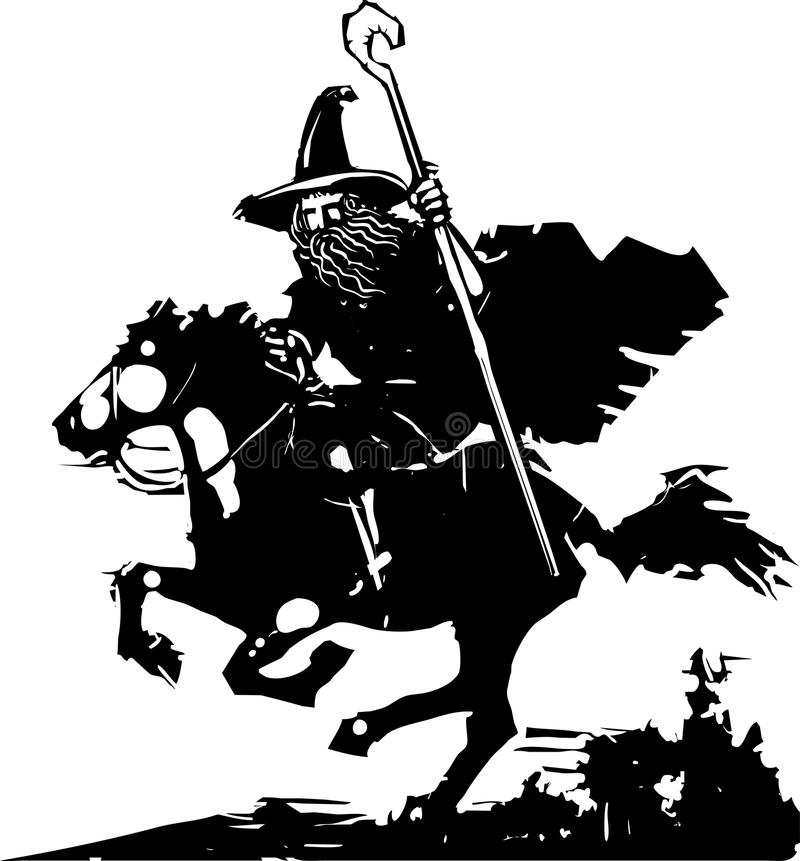 Magicien montant un cheval illustration stock