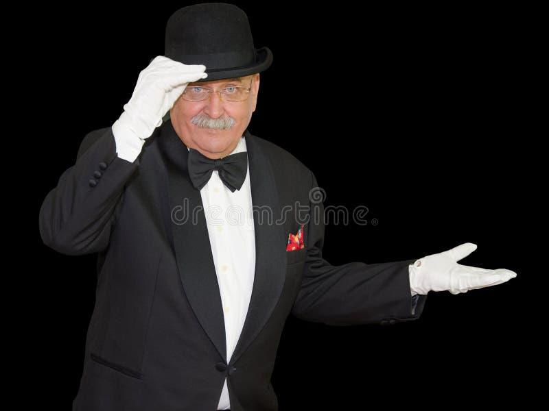 Magicien Welcome Pose sur le noir photo libre de droits