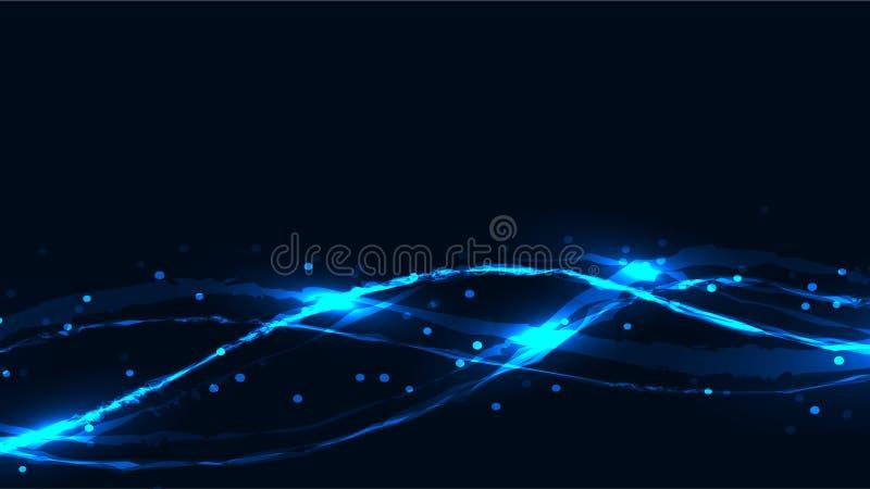 Magico bruciante al neon chiazzato luminoso d'ardore di energia blu astratta royalty illustrazione gratis