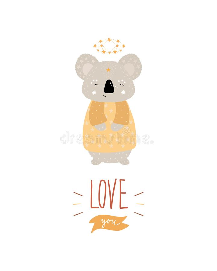 Magico - il manifesto disegnato a mano sveglio della scuola materna con la koala animale del carattere e l'iscrizione vi amano ne immagini stock libere da diritti