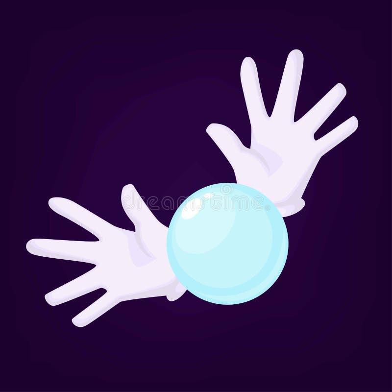 Magicy trzyma kryształową kulę używają dla robić przepowiedniom dla ludzi chce znać przyszłość wręczają być ubranym rękawiczki ilustracja wektor