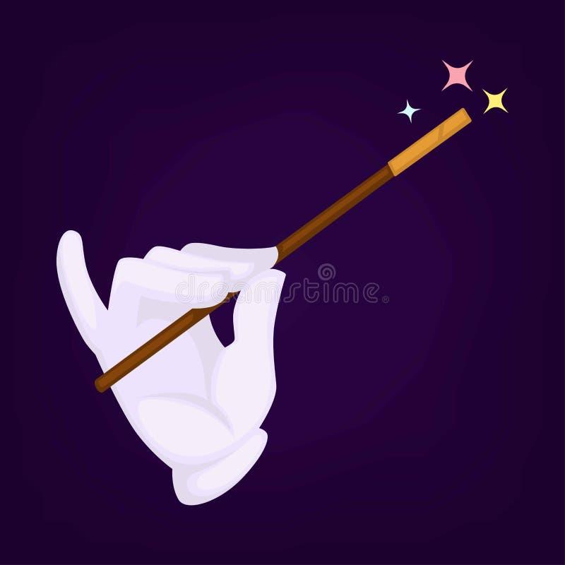 Magicy wręczają być ubranym rękawiczki z różdżką i gwiazdą na górze go ilustracja wektor
