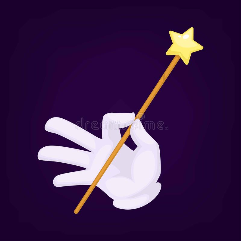 Magicy wręczają być ubranym rękawiczki z różdżka wektoru ilustracją ilustracja wektor