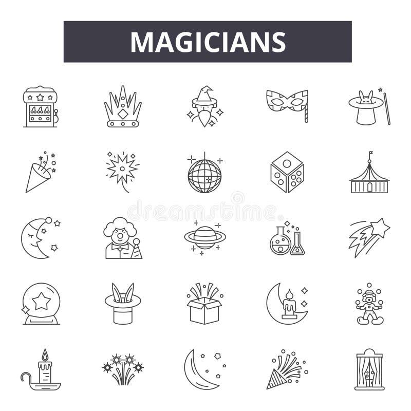 Magicy wykładają ikony, znaki, wektoru set, kontur ilustracji pojęcie ilustracja wektor