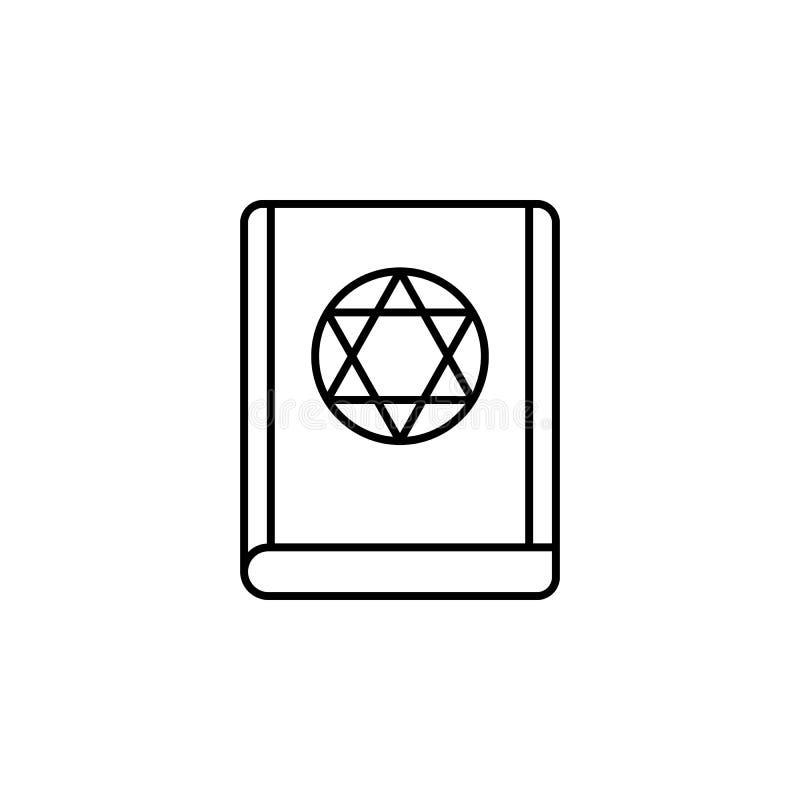 Magiczna żydowska książkowa kontur ikona Znaki i symbole mogą używać dla sieci, logo, mobilny app, UI, UX ilustracji