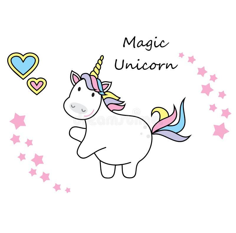 Magiczna śliczna jednorożec, gwiazdy i tęcza, Plakat, kartka z pozdrowieniami, ilustracja z konturem royalty ilustracja