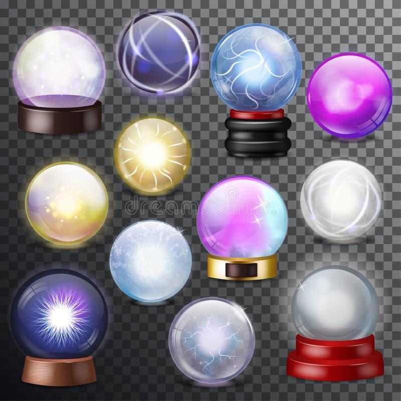 Magiczna balowa wektorowa magiczna krystalicznego szkła sfera i błyszczący błyskawicowy przejrzysty okrąg jako przepowiedni wróżb royalty ilustracja