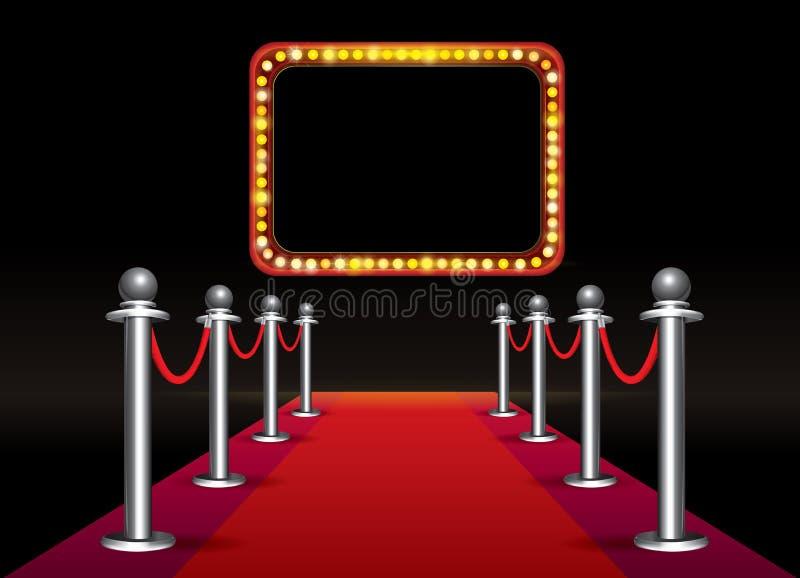 Magiczna czerwony chodnik pętla z signboard z żarówkami na czarnym tle ilustracji
