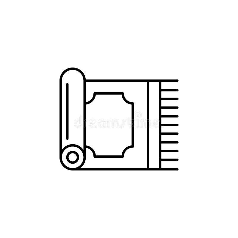 Magiczna dywanowa kontur ikona Znaki i symbole mogą używać dla sieci, logo, mobilny app, UI, UX ilustracja wektor