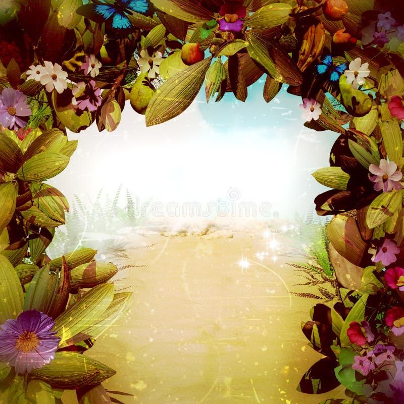 Magiczna fantazja kwiatu brama ilustracji