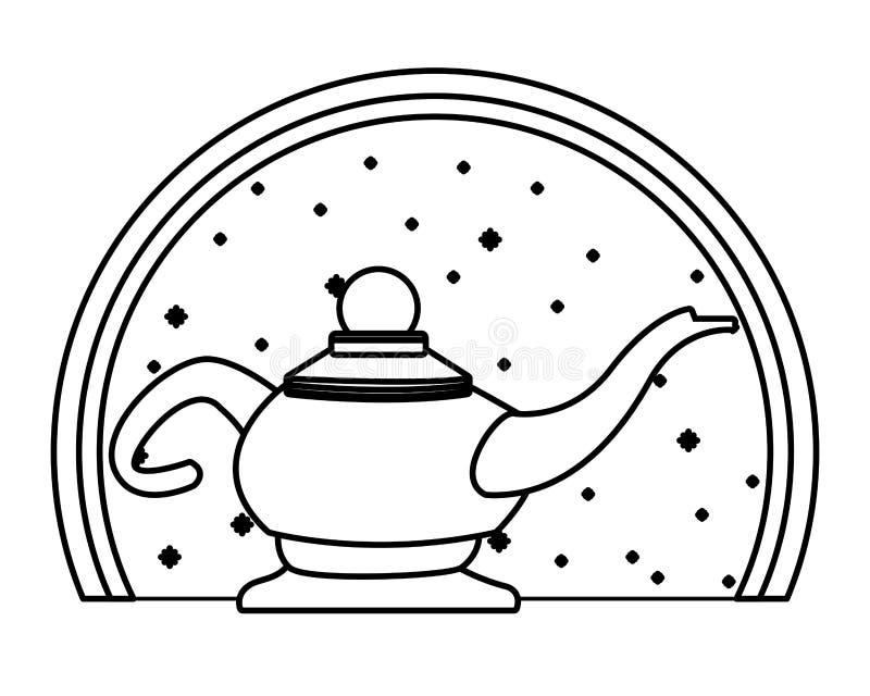 Magiczna lampa w round emblemata tle w czarny i biały royalty ilustracja
