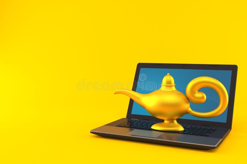 Magiczna lampa z laptopem ilustracja wektor