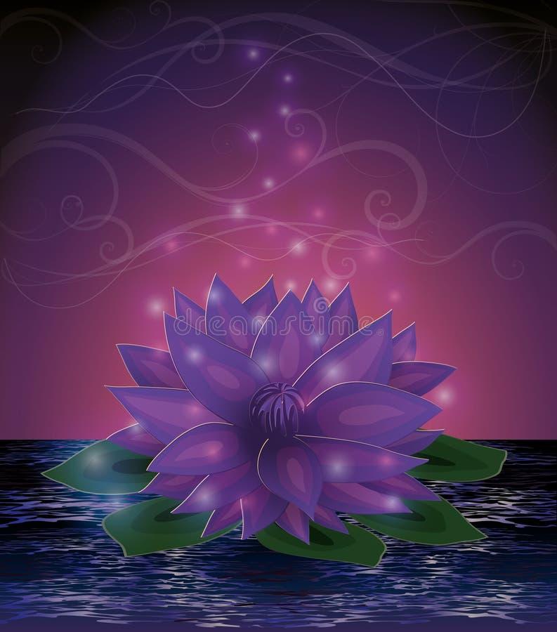 Magiczna lotosowego kwiatu karta royalty ilustracja