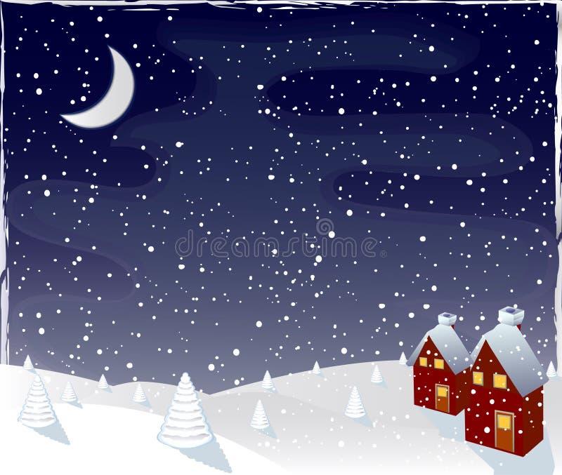 magiczna noc zimy wektora royalty ilustracja