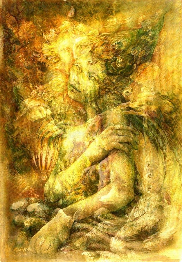 Magiczna piękna woda elven czarodziejkę, kolorowy rysunek ilustracja wektor