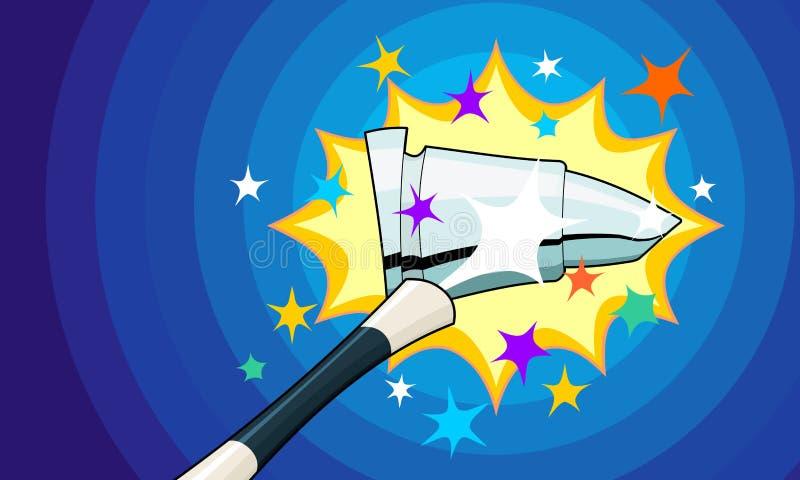 Magiczna różdżka Czaruje ampułę Osrebrza pociska ilustracja wektor