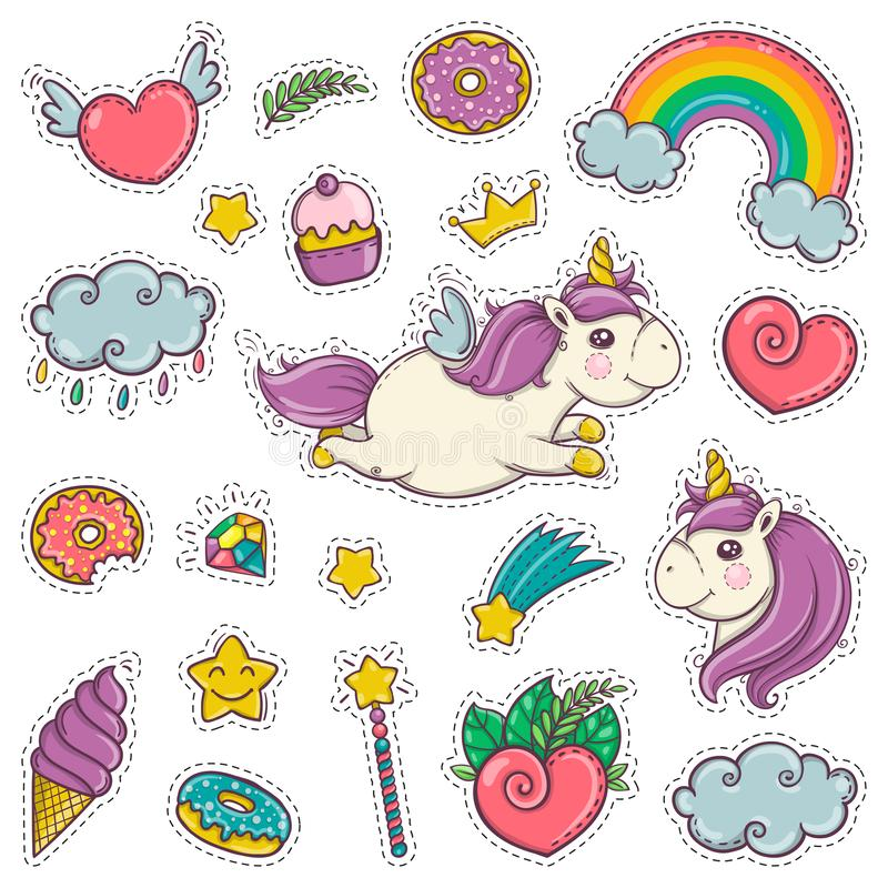 Magiczna różdżka, jednorożec, tęcza, cukierki, lody Set majchery łata odznak szpilek druki dla dzieciaków Kreskówka styl royalty ilustracja