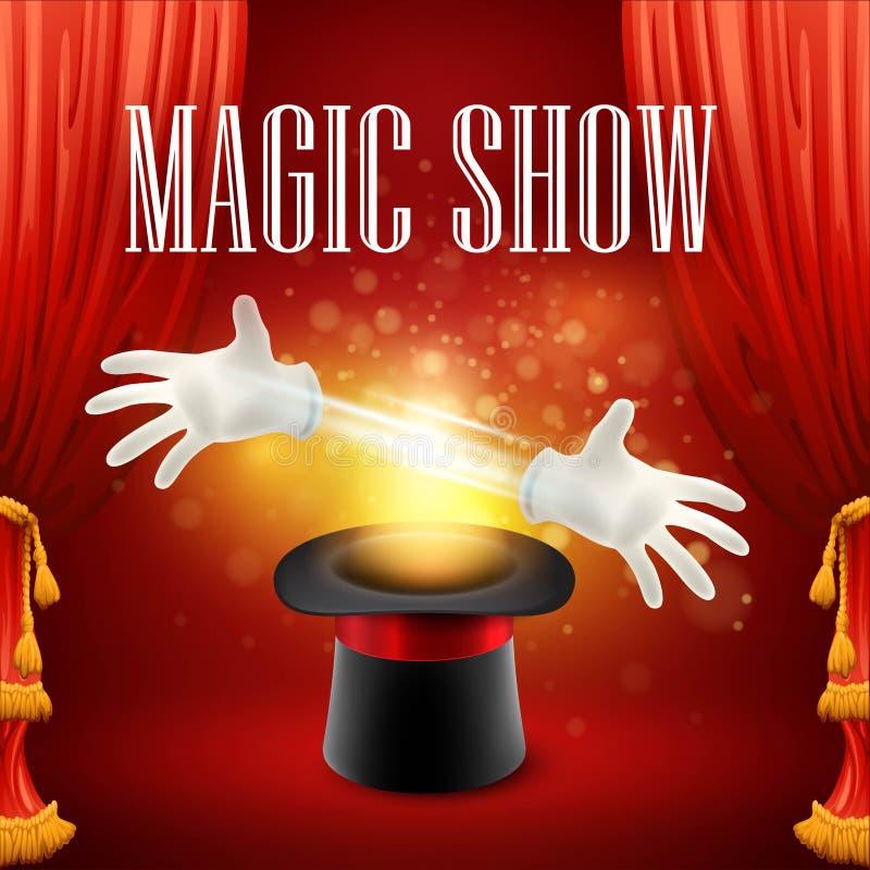 Magiczna sztuczka, występ, cyrk, przedstawienia pojęcie ilustracji