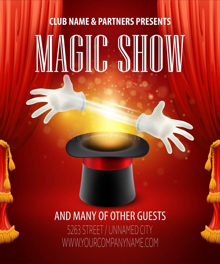 Magiczna sztuczka, występ, cyrk, przedstawienia pojęcie ilustracja wektor