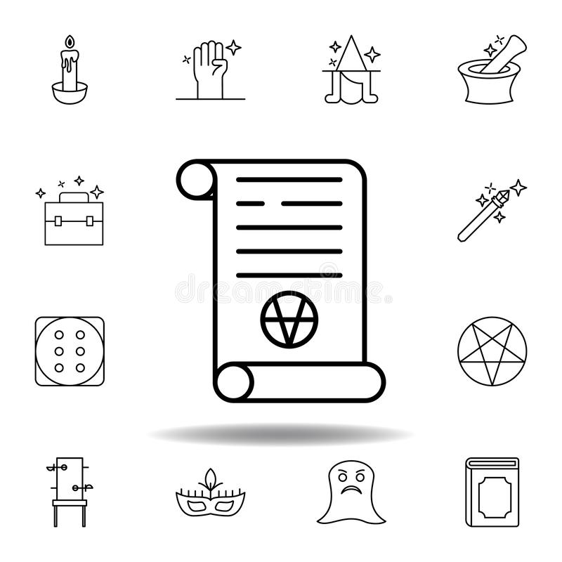 Magiczna sztuki ?limacznicy konturu ikona elementy magiczna ilustracji linii ikona znaki, symbole mogą używać dla sieci, logo, mo ilustracja wektor