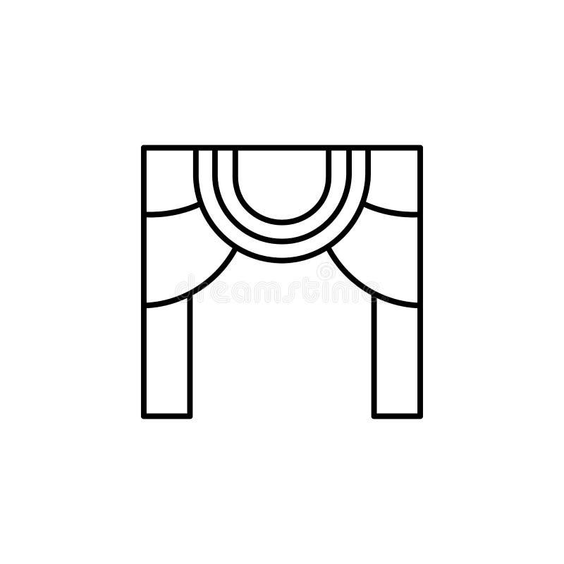 Magiczna teatru konturu ikona Znaki i symbole mogą używać dla sieci, logo, mobilny app, UI, UX royalty ilustracja