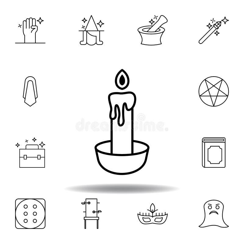 Magiczna ?wieczka konturu ikona elementy magiczna ilustracji linii ikona znaki, symbole mogą używać dla sieci, logo, mobilny app, royalty ilustracja