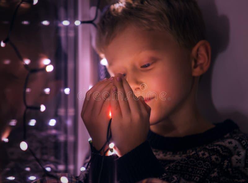 magiczne świąteczne lampki zdjęcie stock