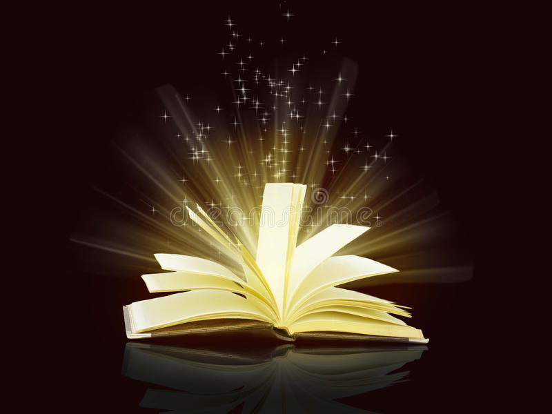 Magiczne iskry latają od otwartej książki ilustracja wektor