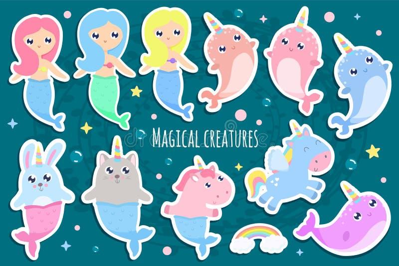 Magiczne istoty Narwhal, jednorożec syrenka, królik syrenka, kot m ilustracji