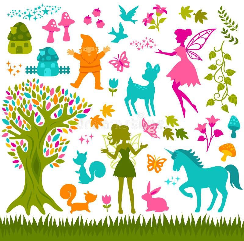 Magiczne lasowe sylwetki royalty ilustracja