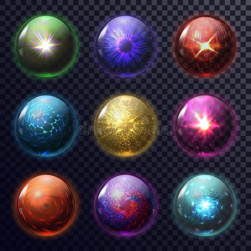 Magiczne sfery lub piłki dla przyszłościowej przepowiedni, okrąg royalty ilustracja