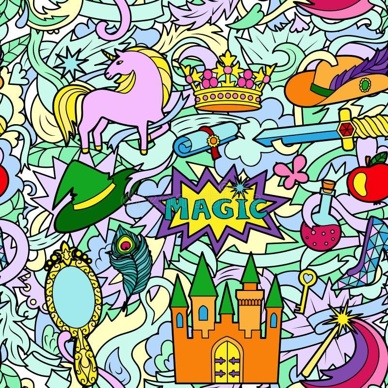 Magicznego Doodle Bezszwowy wzór ilustracji