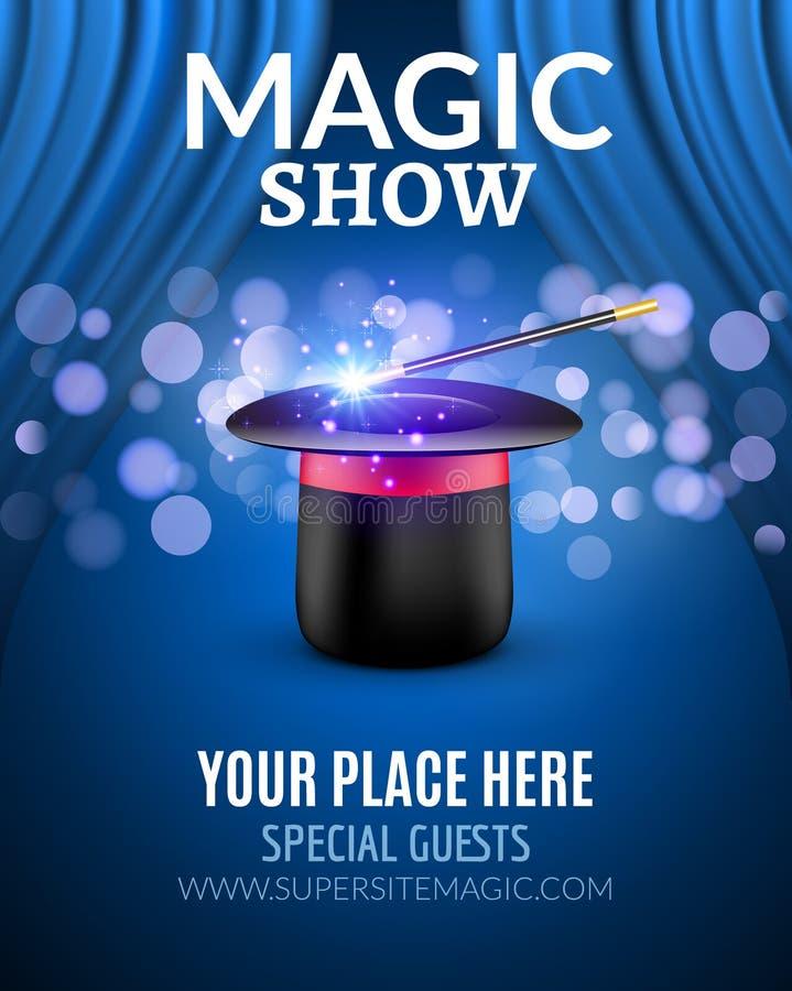Magicznego przedstawienia projekta plakatowy szablon Magiczny przedstawienie ulotki projekt z magicznym kapeluszem i zasłonami ilustracja wektor